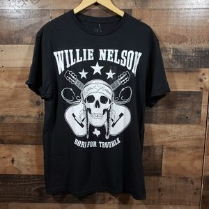 Willie Nelson born for trouble graphic t-shirt NWT